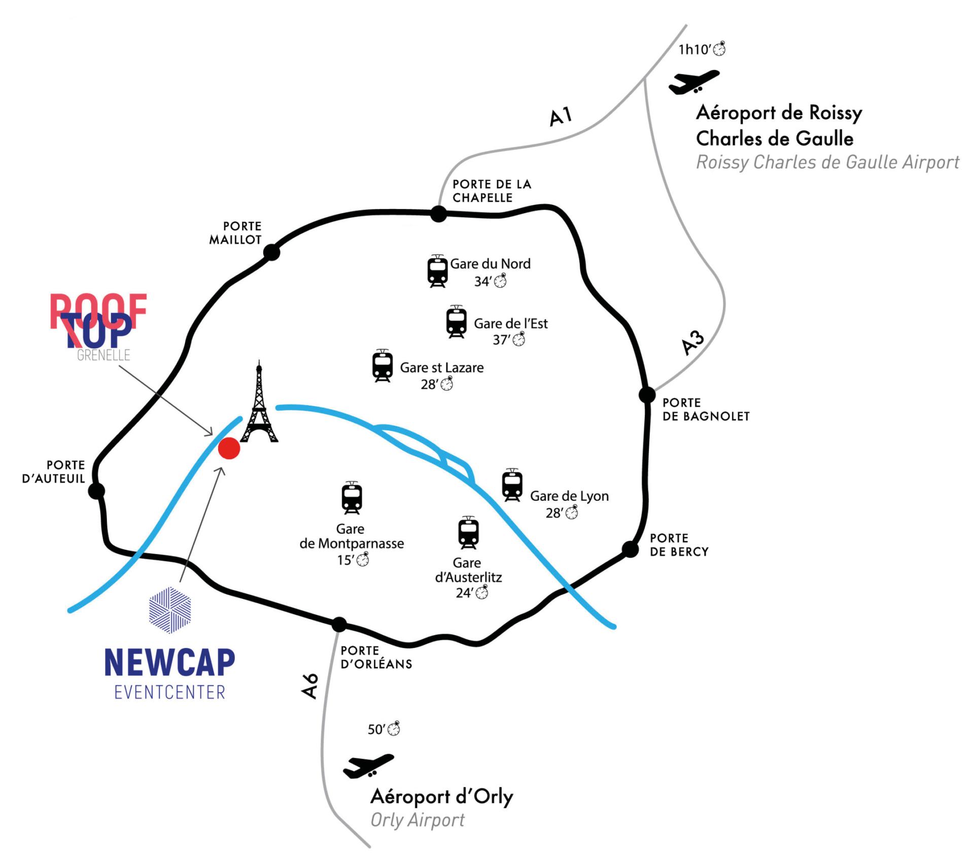 Plan d'accès pour venir au rooftop grenelle
